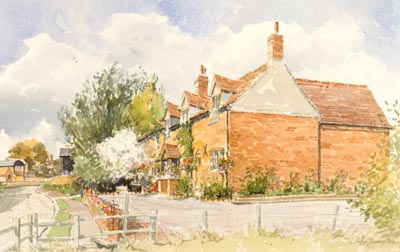 Aston Cantlow Cottage - a watercolour by John Davis