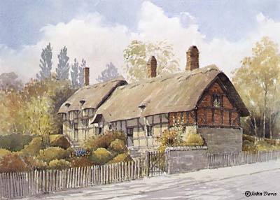 Anne Hathaway's Cottage - A Watercolour by John Davis