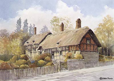 Anne Hathaways Cottage - a watercolour by John Davis