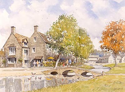Bourton on the Water, a watercolour by John Davis (c)