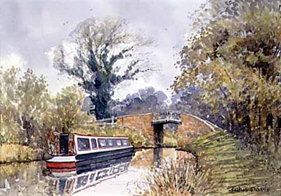 'A Gentle Passage by Canal Boat' - in Watercolour by John Davis