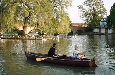 Couple rowing on the River Avon