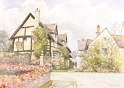 The Fleece Inn, Badsey, Worcs - a watercolour by John Davis