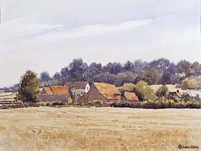 'After the Harvest', Glebe Farm, Aston Cantlow - in Watercolour by John Davis