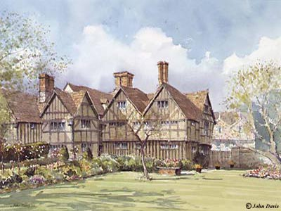 Rear of Hall's Croft (Shakespeare's Daughter's House) A Watercolour by John Davis ©