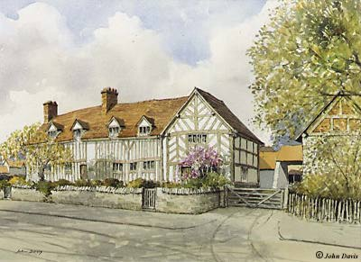 Mary Arden's House, Wilmcote - A Watercolour by John Davis