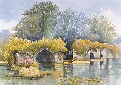 Old Warwickshire Bridge - a watercolour by John Davis