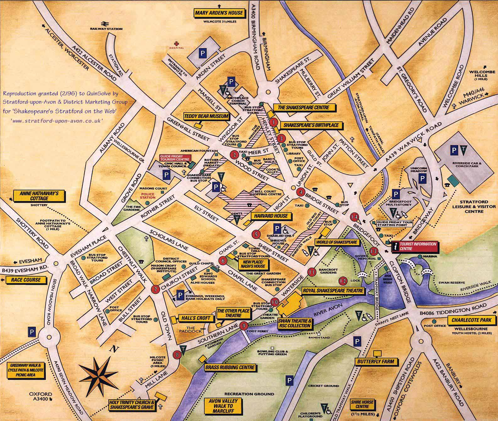 detailed sightseeing map of stratford upon avon