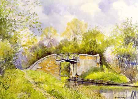Typical Split Bridge - watercolour by John Davis (c)