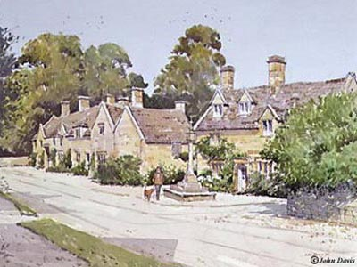 Stanton Cross - a Cotswold Village - in Watercolour by John Davis