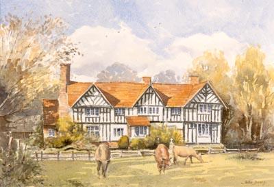 A Country House near Stratford in Watercolour by John Davis ©