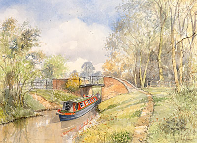 To Stratford by Canal - a watercolour by John Davis