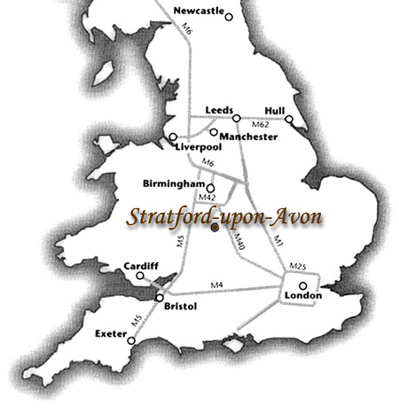 Travel map to Stratford-upon-Avon