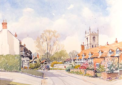 Welford on Avon, Warwickshire - watercolour by John Davis
