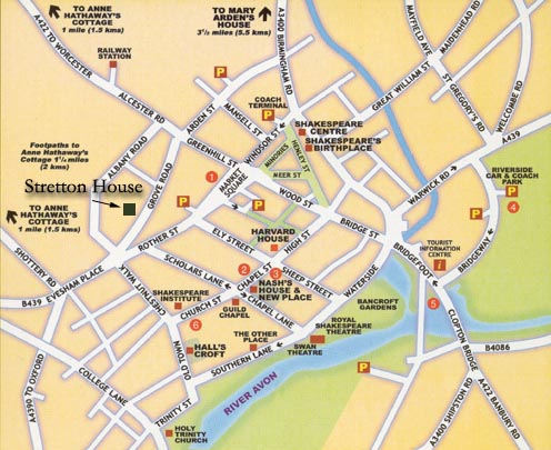 Map to Stretton House, Stratford-upon-Avon